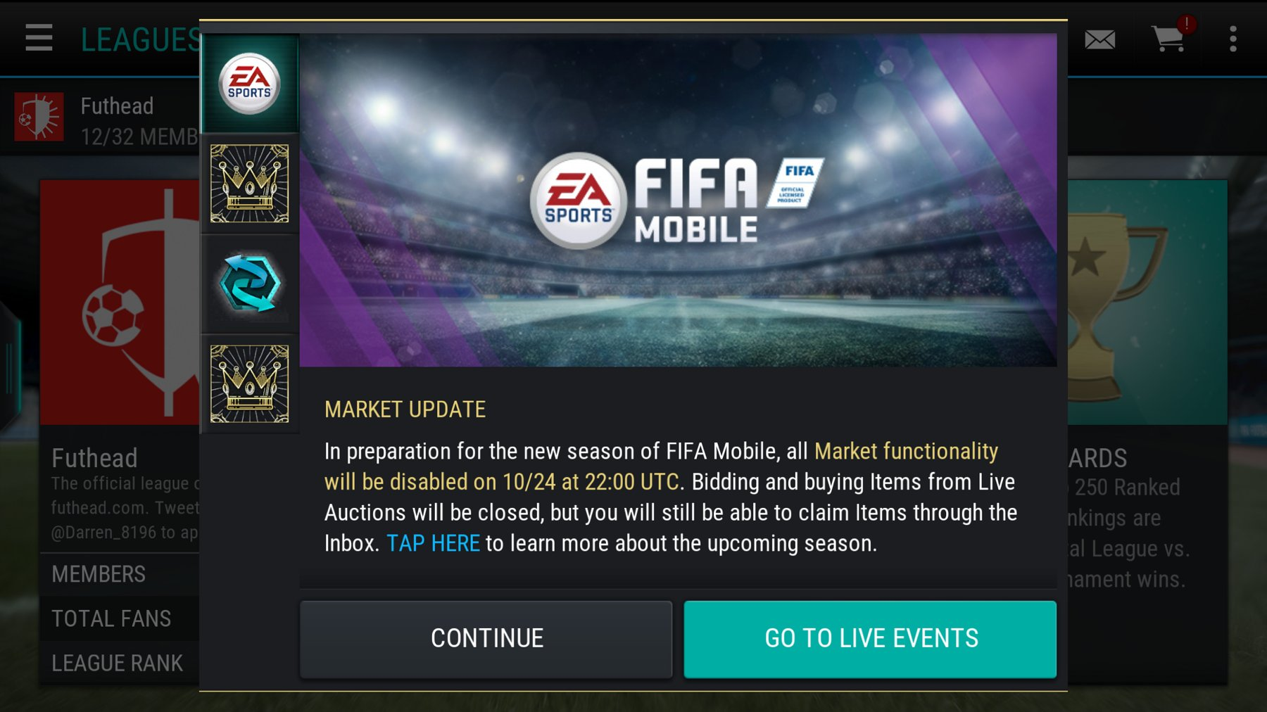 FIFA Mobile Transfer Market going down 24 October - Futhead News