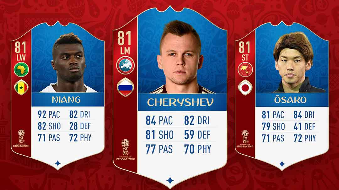 914ed18708e 81 Cheryshev, 81 Niang, 81 Osako FIFA 18 World Cup MOTMs for end of ...